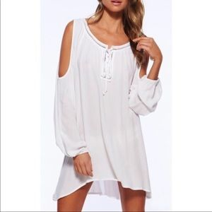 L*Space Cold Shoulder Swimsuit Coverup White Lace